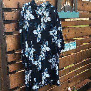 CUBAVERA   Blue Hawaiian Print Shirt - Men's 4X